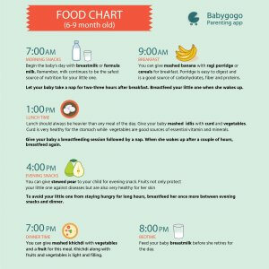 Food Chart For Indian Babies From 1 to 12 Months Babygogo