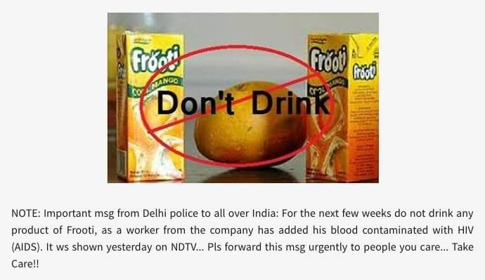 pepsi frooti with hiv contamination