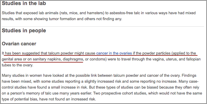 telcom powder may cause cancer