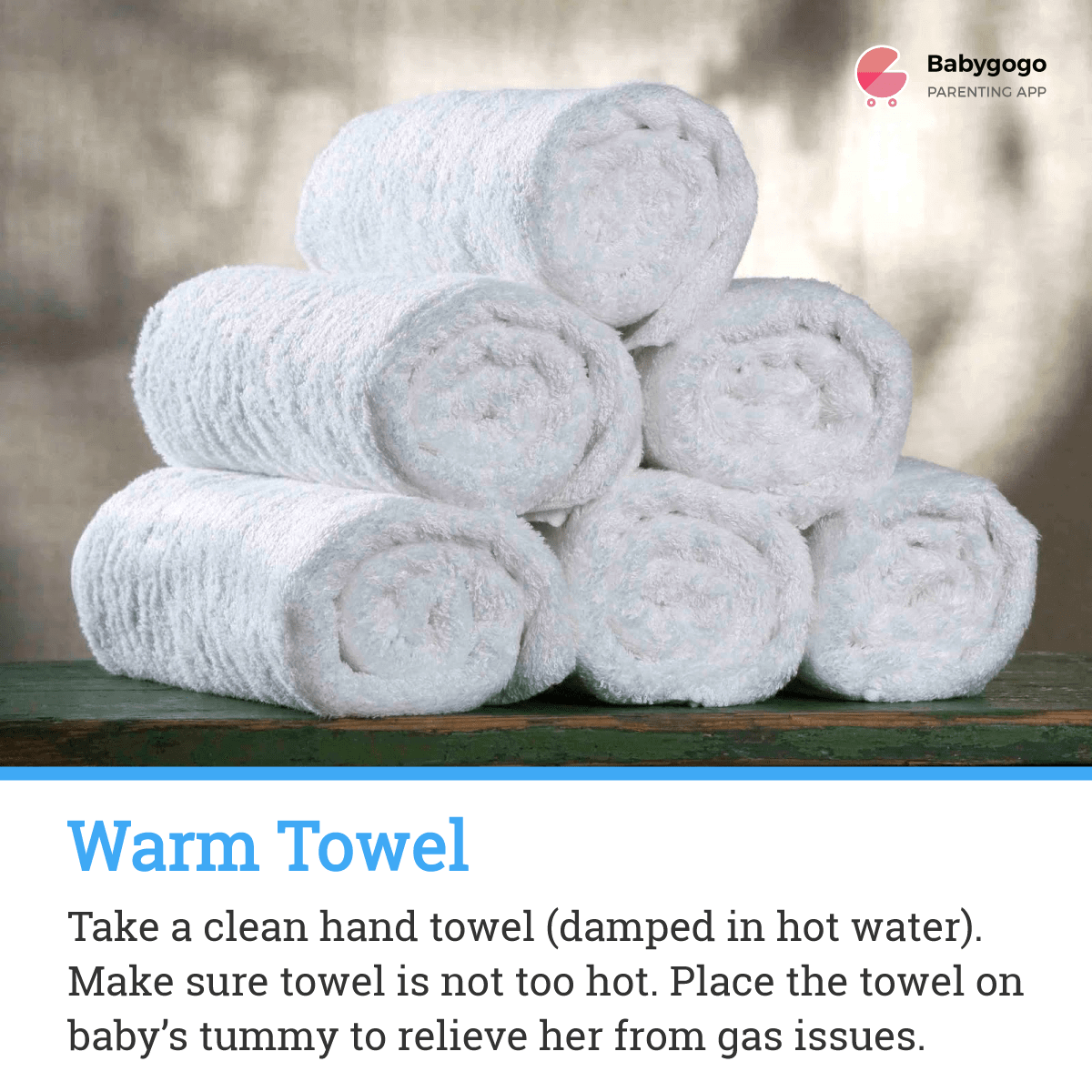 Warm towel for gas pain
