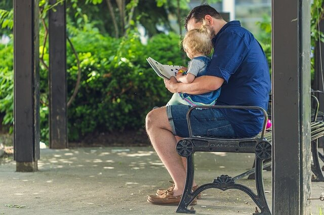 Fathers reading rhymes for kids