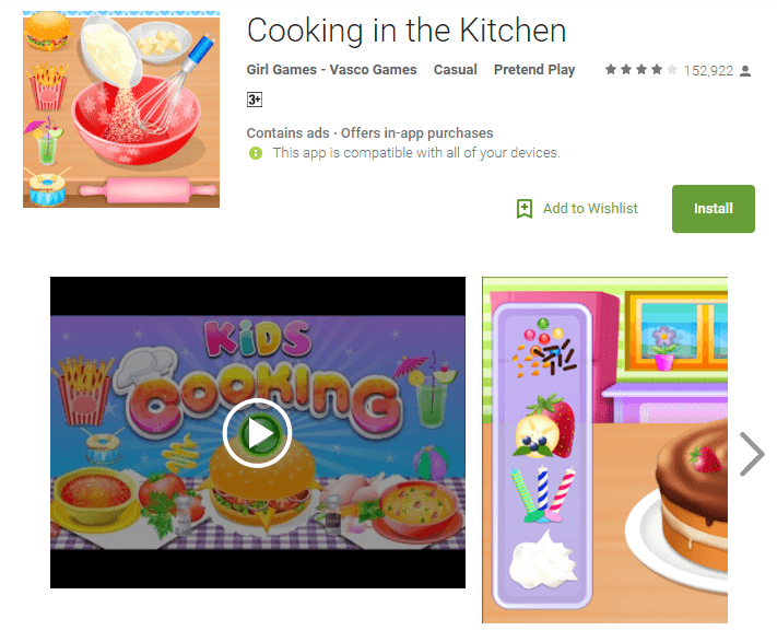cooking in the kitchen game for baby girls