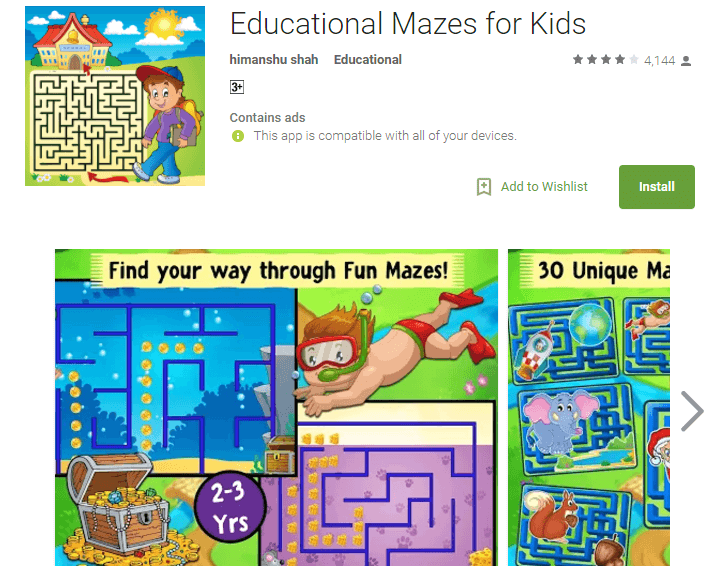 educational maze game for baby girls