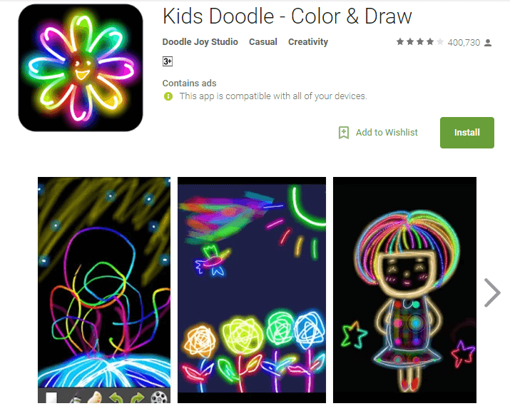 kids doodle game for baby girls