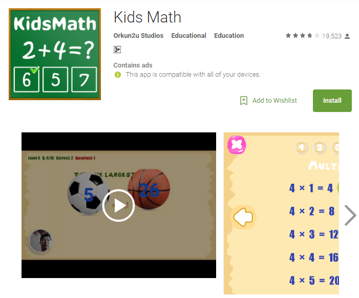 kids maths game for baby girls