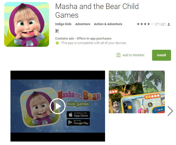 masha and the bear child game for baby girls