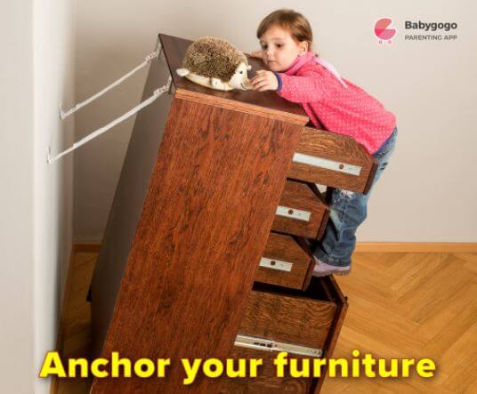 anchor furniture at home to keep baby safe